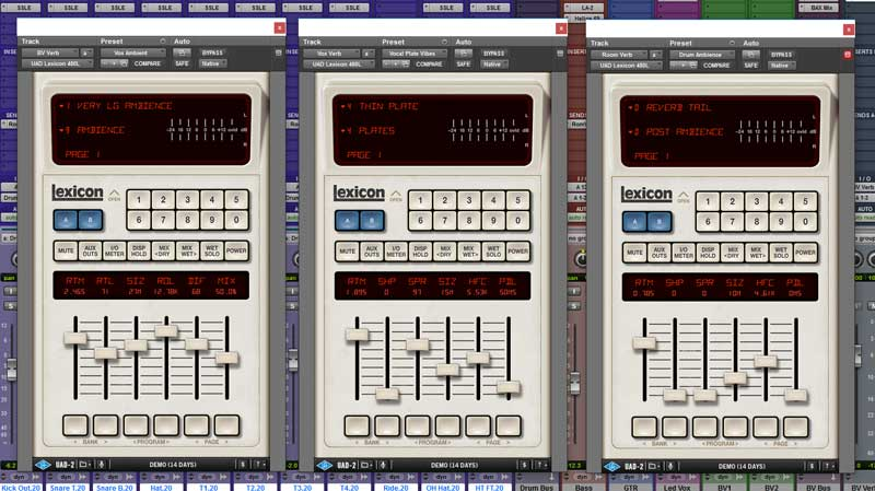 From left to right the UAD-2 Lexicon 470L Reverbs used on Sunrise on Backing Vocals, Lead Vocals & Drums