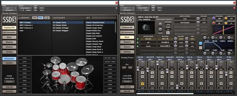 Two instances of Steven Slate Drums 5 showing the kit builder and the mixer windows