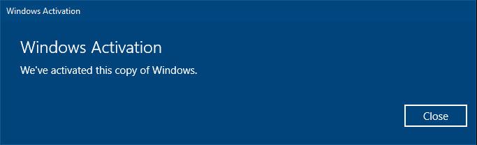 Windows 10 Pro activated again