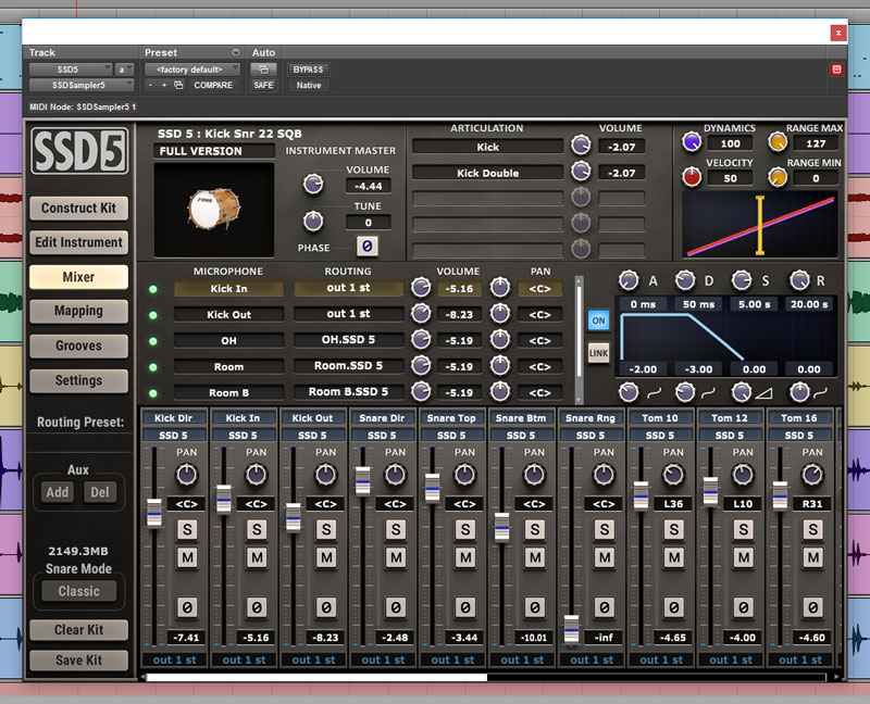 SSD5 Mixer window. The is the kit we used for Mix 2 - Fast Fat Rock