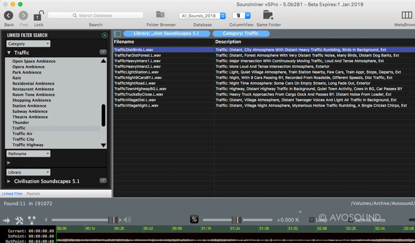 Soundminer v5 Pro preview - Filter Search