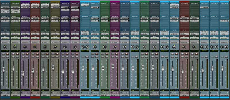Mixer Page Showing Routing Track Layout