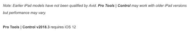 Avid Pro Tools Control App old iPad requirements