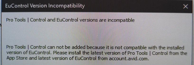 Alan's Eucon Error Message