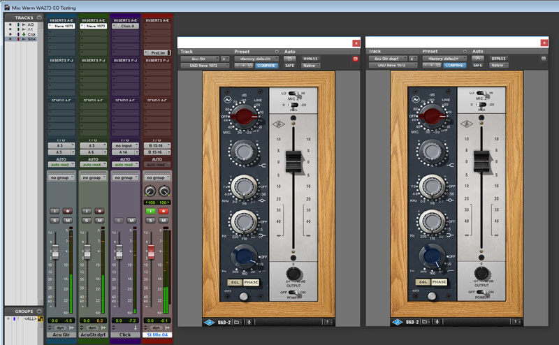 Using the Universal Audio Neve 1073 I recreated the same settings as the hardware to achieve a very similar result