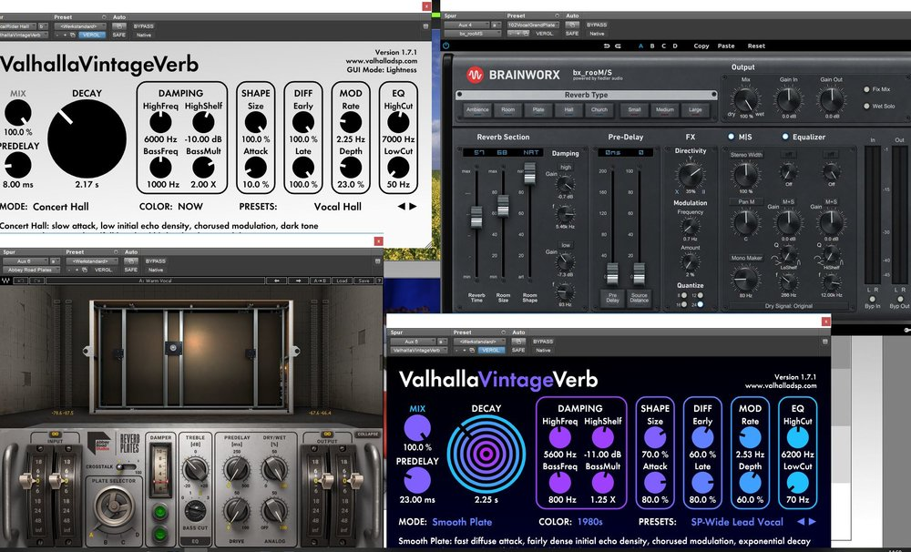 The Reverb Plug-ins on The Gershwinites - Click on the image so see a larger version.