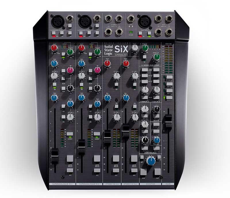 The new SSL SiX desktop mixer, from above.