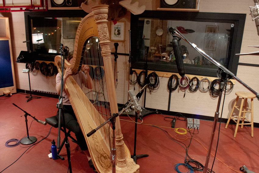 recording a harp with Ribbon Mics in Blumlein