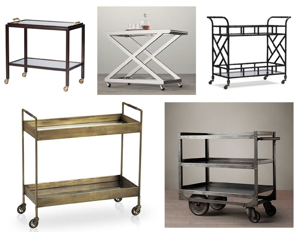 Bar carts shown are Serena & Lily Parisian ($995), Restoration Hardware 1950's Milo ($895), Williams-Sonoma Chippendale ($699), Crate & Barrel Libations ($599) and Restoration Hardware 1930's Industrial Steel