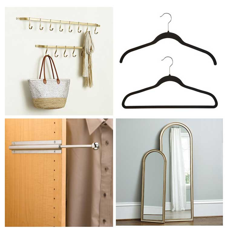 Ballard Design Carsten Gold Hook Rack, Black No-Slip hangers, Chrome Valet Rod and Ballard Bardot Mirror