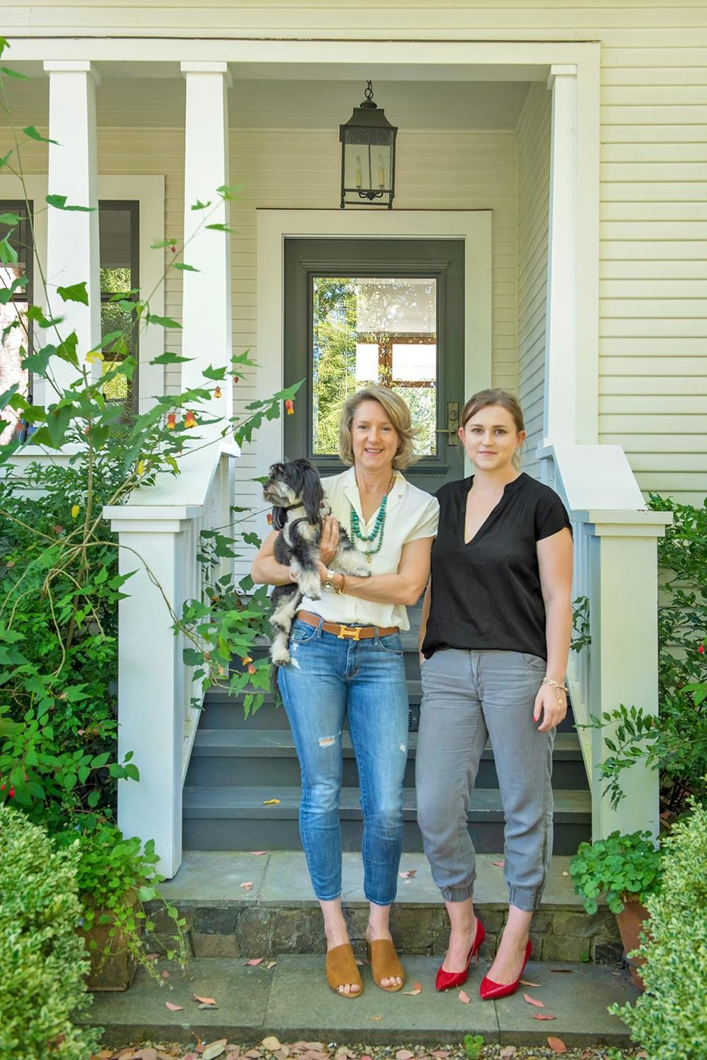 Tama, Lauren and Marley at the front porch of the Main House at Knowlton Farms & Vineyard