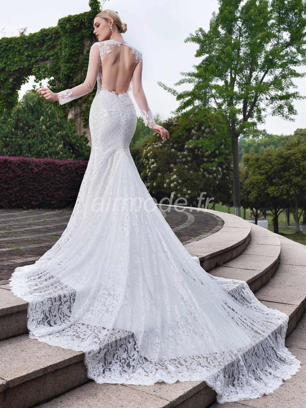 longueur des manches longues étage appliques naturelles église automne trompette / sirène la robe de mariée de jardin / outdoor