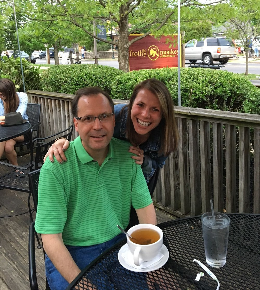 My sweet friend Alison and her dad enjoying Frothy Monkey in 12 South