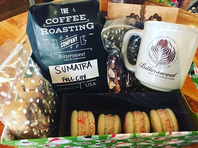 We have gift baskets available for the holiday season here at Bittersweet! Also, buy $100 in gift cards, and receive a free $10 gift card for you! 👏🏼#louisvilleco #colorado #louisville #coffee #coffeeshop #mainstreet #goodmorning #snacks #breakfast #cake #cakepops #dessert #chilllife #wakeup #events #music #weddings #weddingcake #pastrychef #fromscratch #latte #confections
