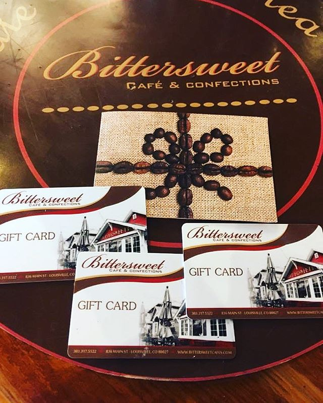 Give a super sweet gift with our Bittersweet Gift Cards this season! If you buy $100 in gift cards, you will receive a FREE $10 gift card for yourself. Sounds like a plan! 😍#louisvilleco #colorado #louisville #coffee #coffeeshop #mainstreet #goodmorning #snacks #breakfast #cake #cakepops #dessert #chilllife #wakeup #events #music #weddings #weddingcake #pastrychef #fromscratch #latte #confections