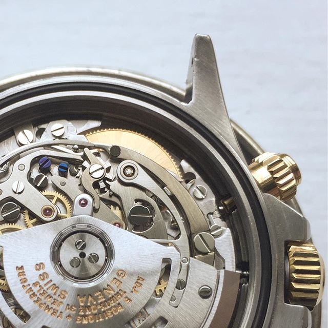 Rolex 4030, their take on the Zenith 3019PHC 'El Primero' movement. Rolex stepped down the frequency to 28,800 vibrations per hour, added a free-sprung overcoiled hairspring, removed the date, improved the automatic winding mechanism, and stepped up the movement finishing. They stopped using this movement in the early 2000s. After overhaul. . . . #rolex #rolexdaytona #chronograph #mechanicalwatch #watchmaking #watchrepair #johndoyle #elprimero #zenithwatches #zenithelprimero