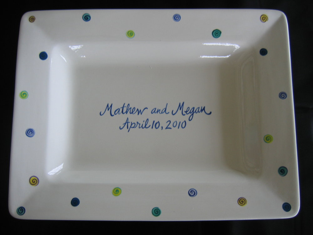 Pre-Finished Guestbook Signature Platter glazed and fired and ready for signatures.