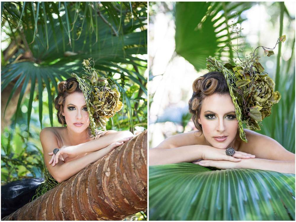 Portraits of a woman surrounded by palm trees
