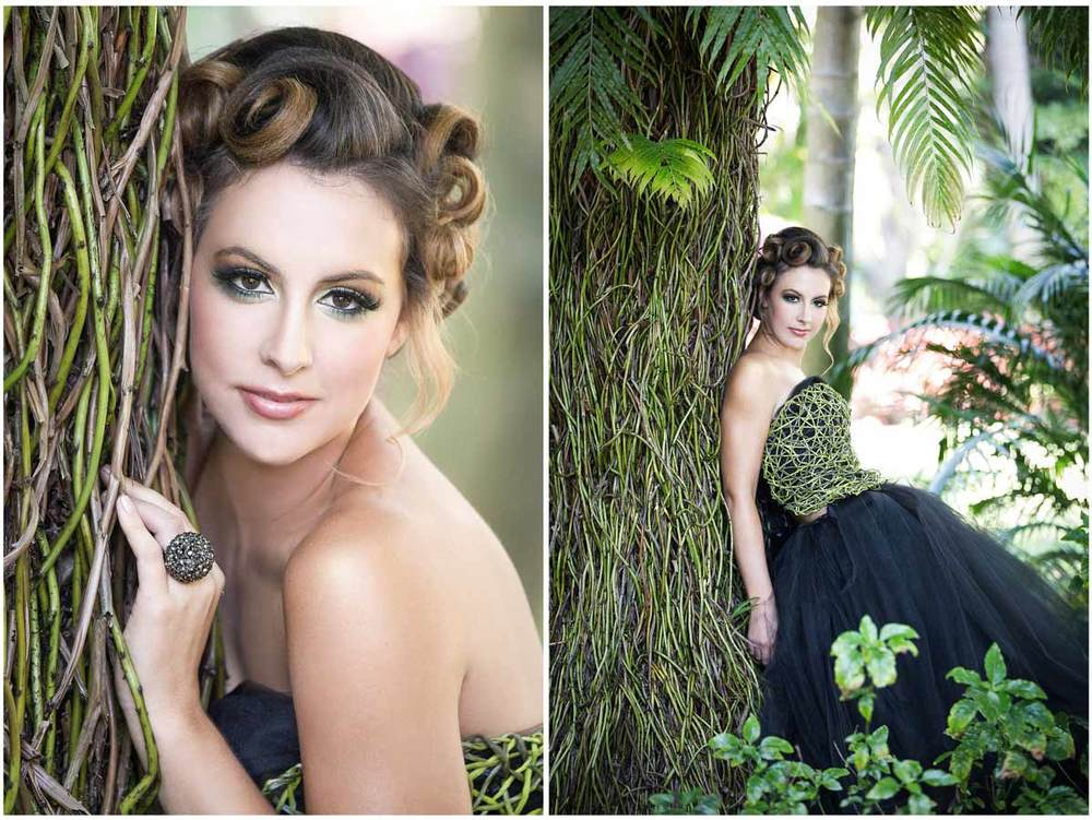 Gorgeous girl surrounded by exotic vegetation of the gardens in Florida