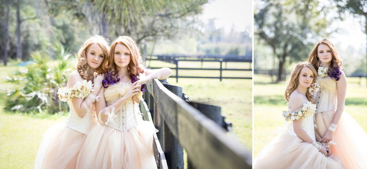 High school senior portraits of sisters in couture gowns