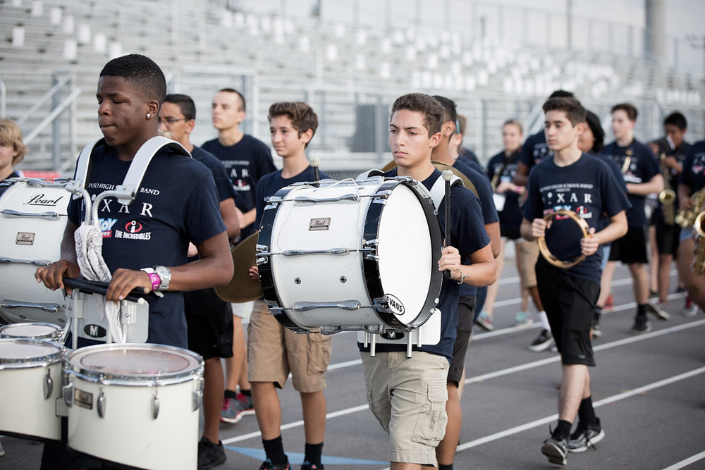 Drum players at the Alonso High School