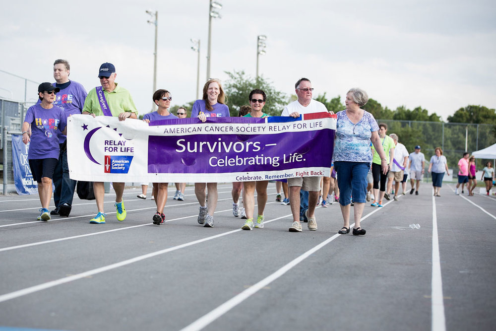Survivors walking at the opening lap Relay for Life
