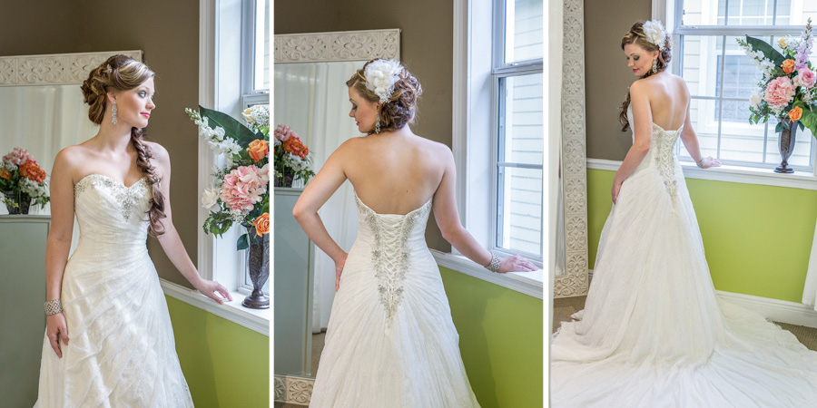 Pictures of a wedding gown and the head piece