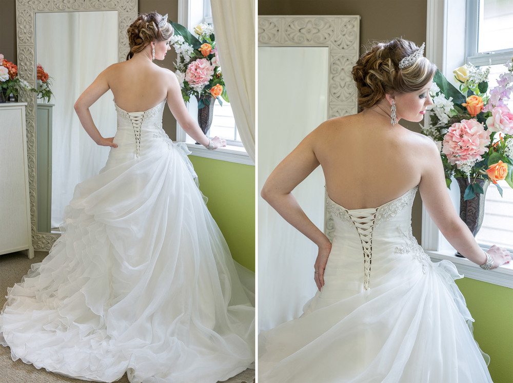 Back of the wedding dress with lace up detail