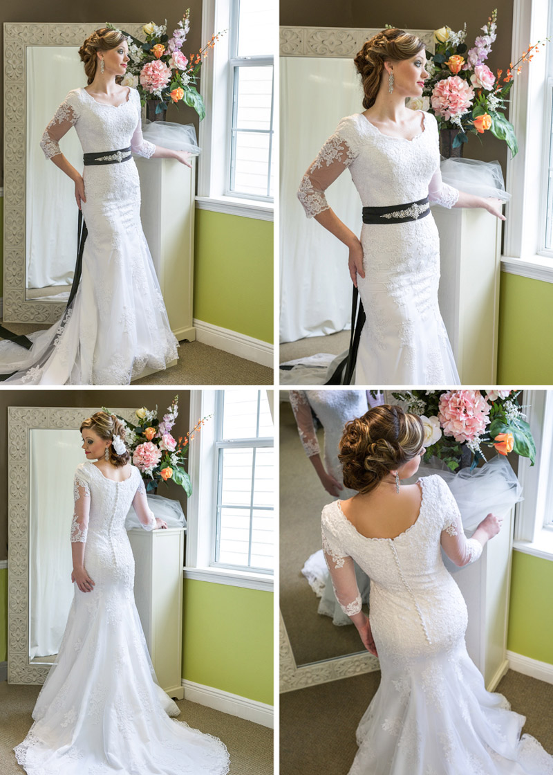 Stunning fitted wedding gown with black belt