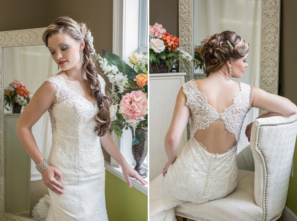 The front and the back of the lacy gown