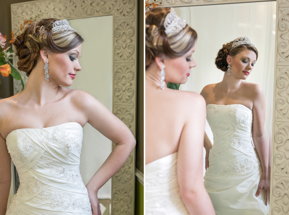 Reflection in the mirror of the wedding gown