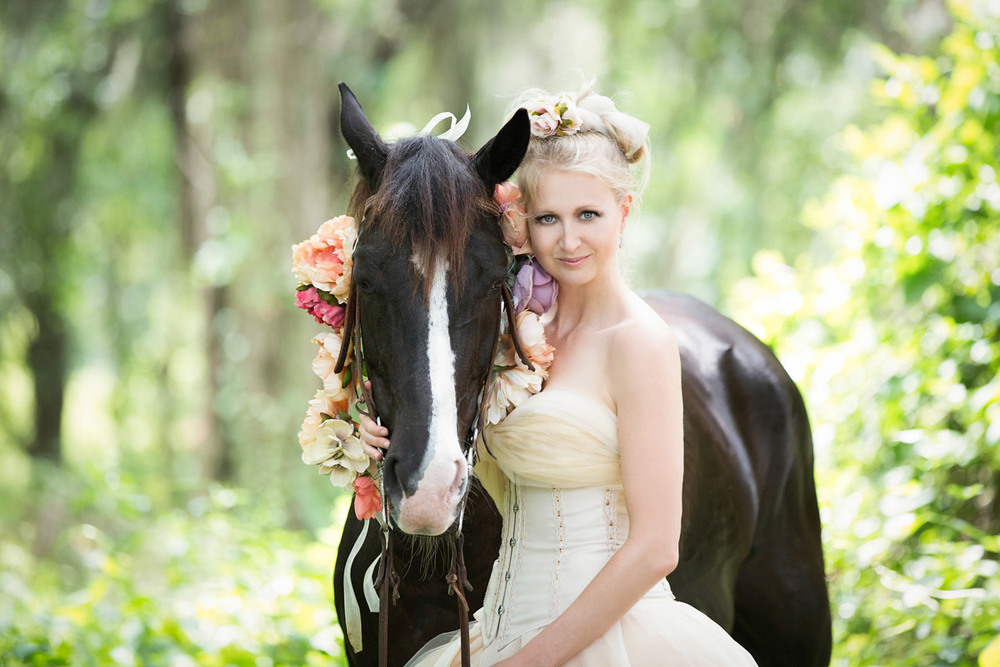 A woman with her rescue horse