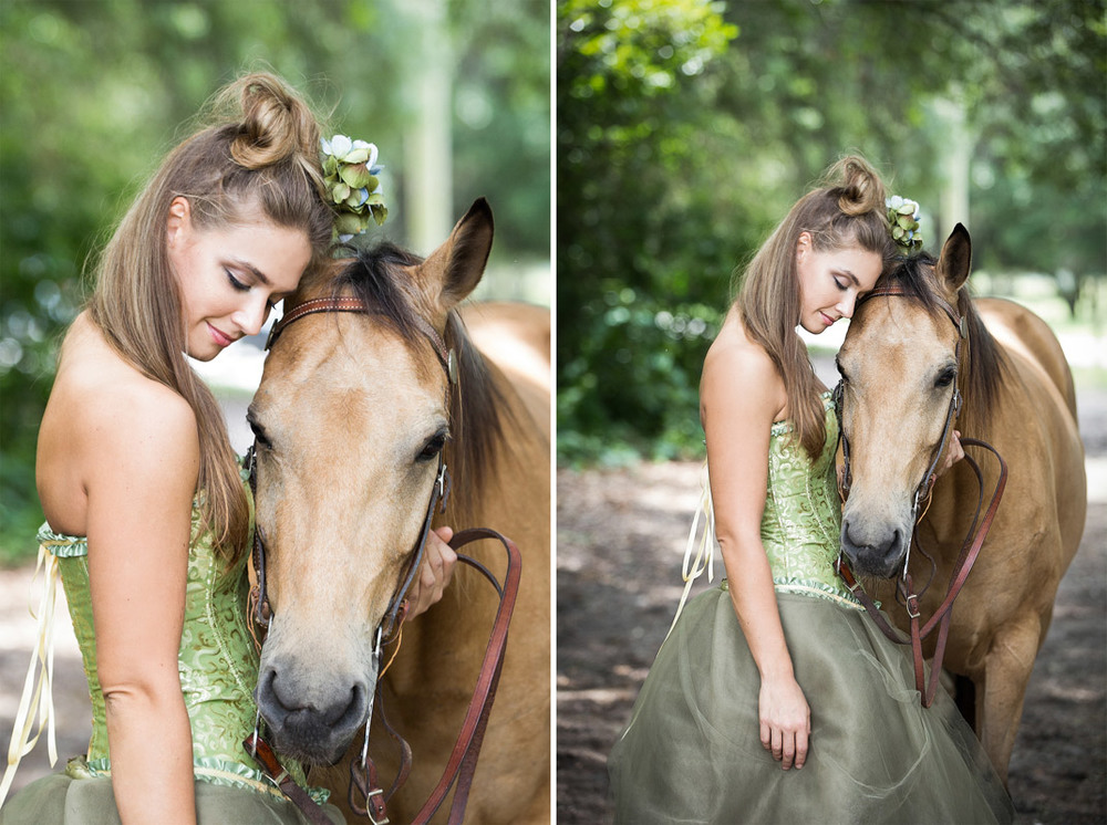 A woman sharing a moment with her horse