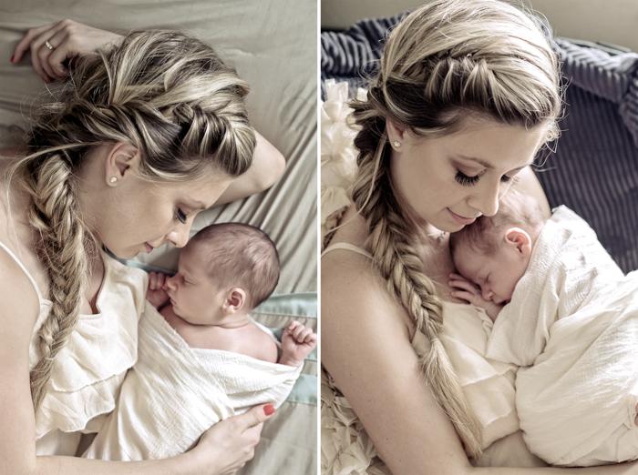 Beautiful momma putting her baby to sleep