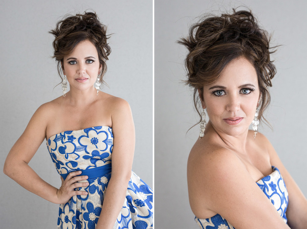Portraits of a young mother in blue-white dress