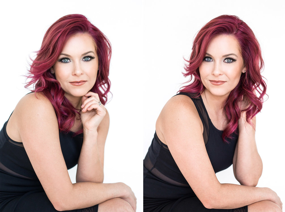 Red haired woman's beauty headshot