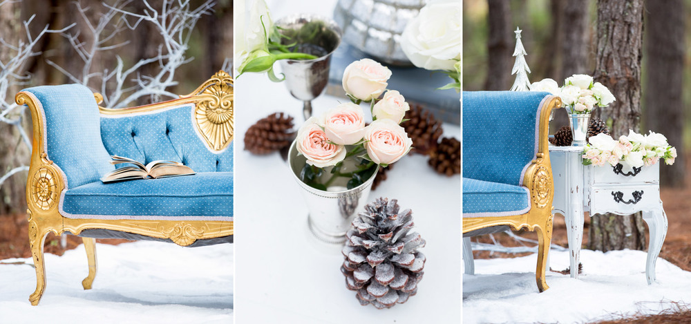 Pictures of details at the Winter styled shoot