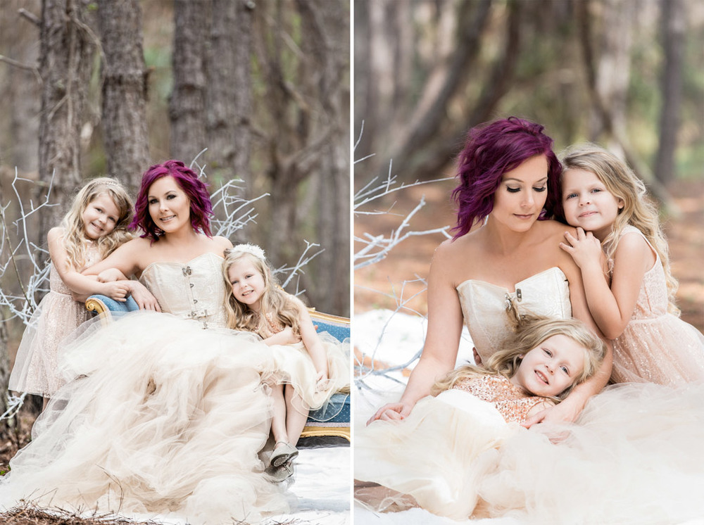 Photo of a mother with her two little daughters in the woods