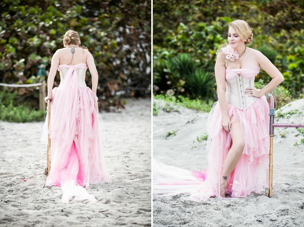 A woman walking on the beach using her walker