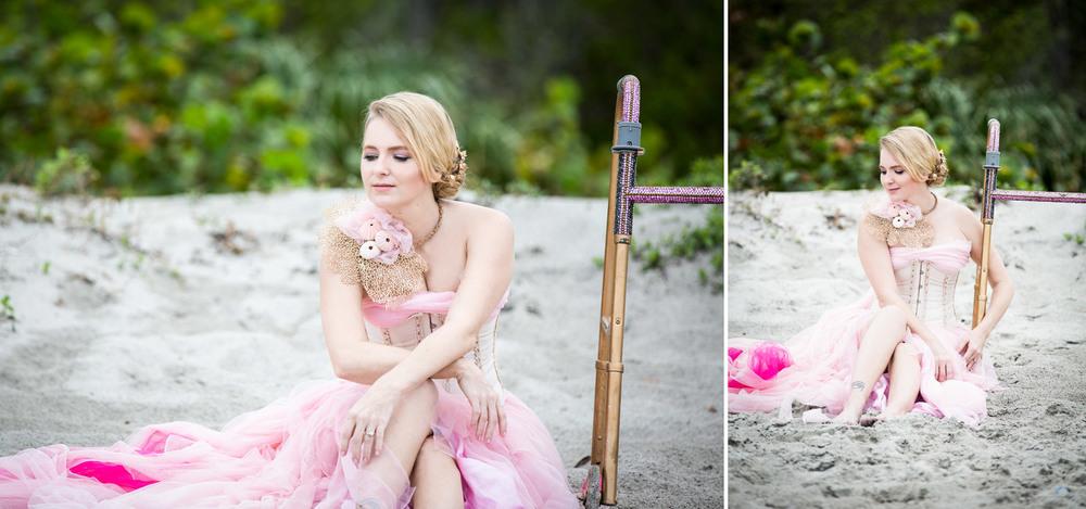 Beautiful woman sitting on the sandy beach