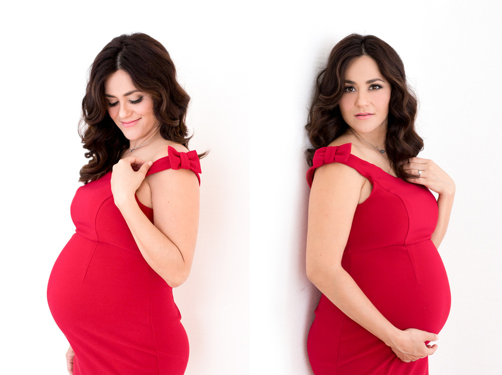 Red dress maternity pictures