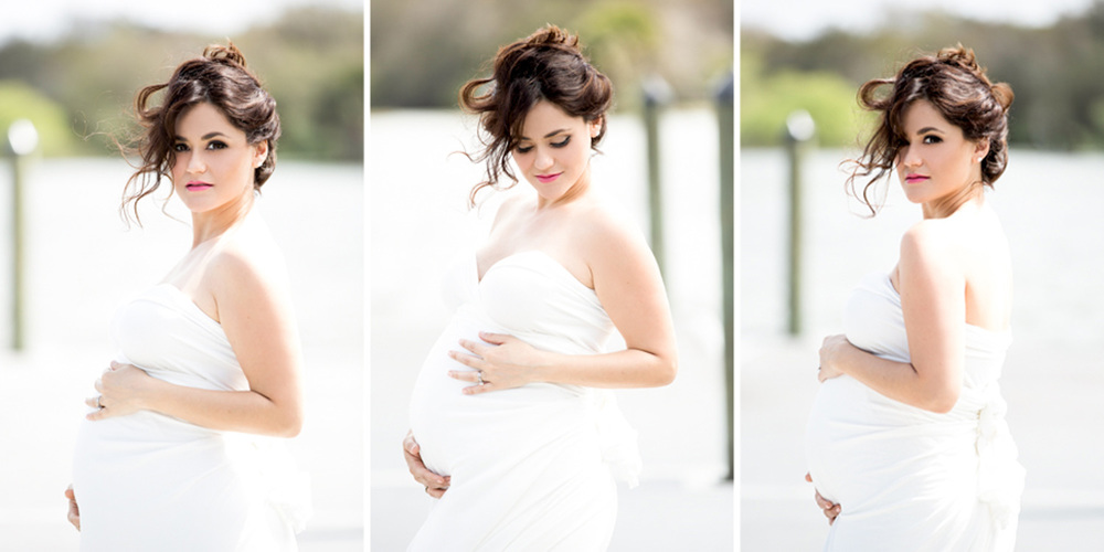 White dress maternity photos