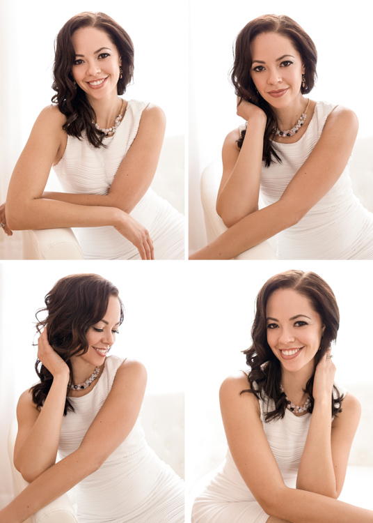 Glamour portraits of a young woman in a white dress