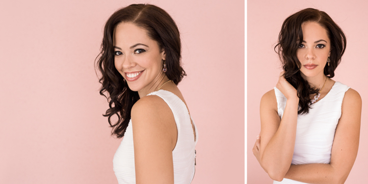 Beautiful portraits of a lady on the pink backdrop