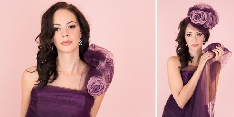 Glamour couture pictures wearing purple dress and purple fascinator