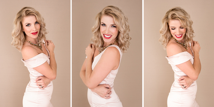 Gorgeous head shots of a woman in light pink sexy dress