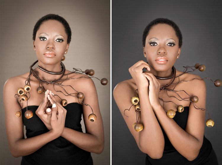 Creative portrait with a ball neckpiece