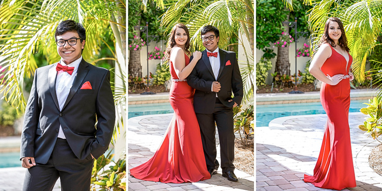 A couple posing for prom pictures
