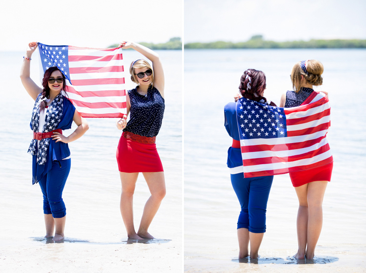 Independance Day styled session on the beach with an American flag