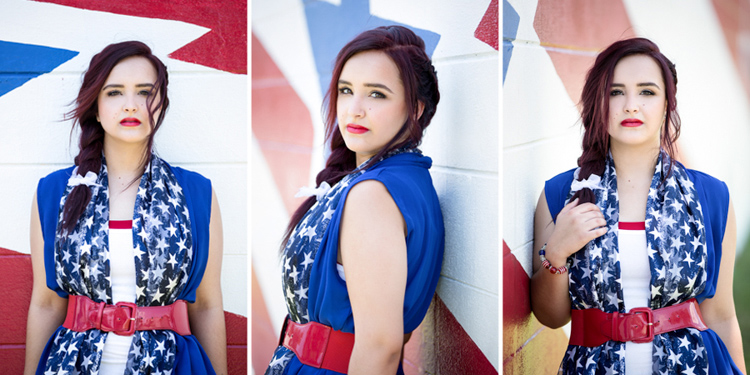 Head shots of Brooke in her red, white, and blue outfit